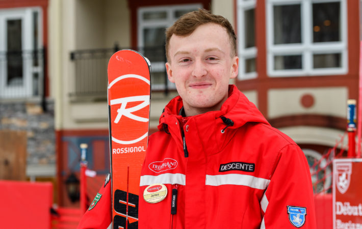 Student wearing the Tremblant Ski School uniform with pride