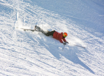 It's ok to fall over, even as a ski instructor!